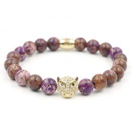 Katzenkopf Armband aus Lavendeljaspis