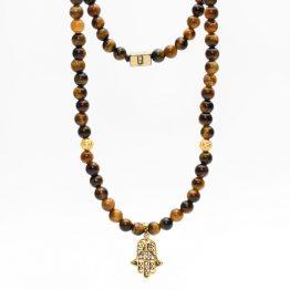 Hamsa Fatima Hand Tigerauge Halskette
