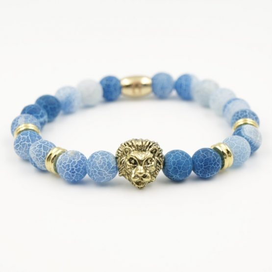 Löwenkopf Armband Hellblauem Achat