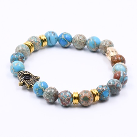 Hamsa Armband aus Perlen mit Jaspis
