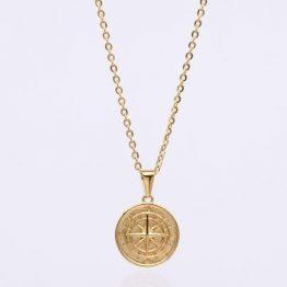 Kompass Anhänger Gold