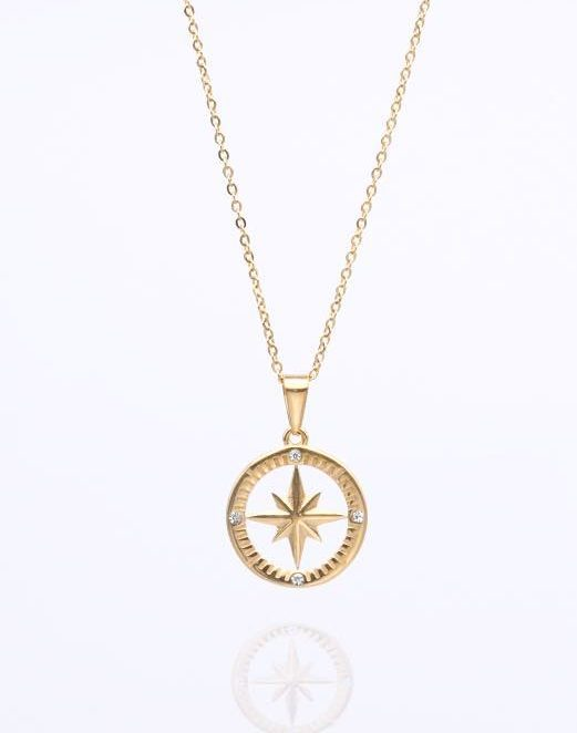 Nordstern Kette Gold Kompass